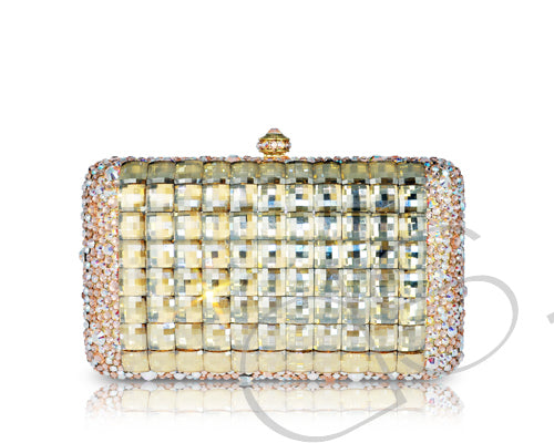 Cubical Gold Crystallized Clutch - 14cm