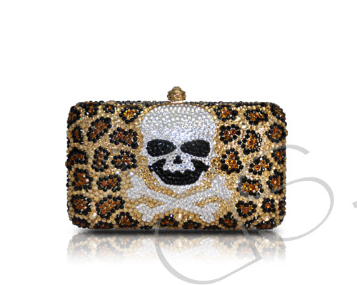 Leopard Crossbones Crystal Clutch Bag - 14cm