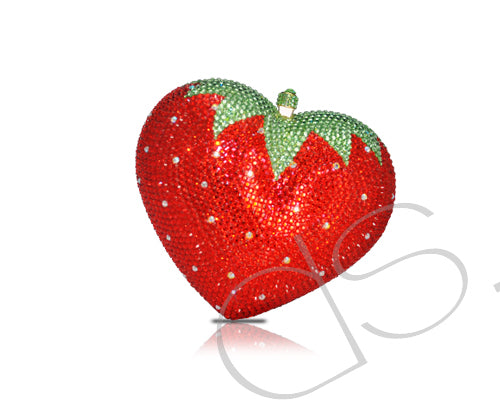 Strawberry Heart Crystal Clutch Bag - 13cm