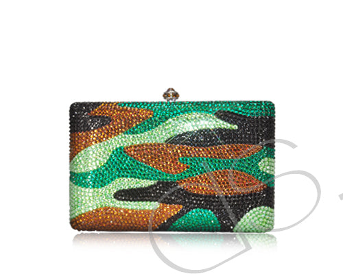Camouflage Pattern Crystallized Clutch Bag - 16cm