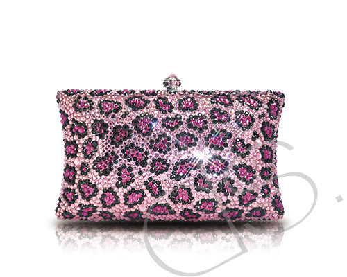 Leopard Blossomed Crystallized Clutch Bag - Pink 15.5cm