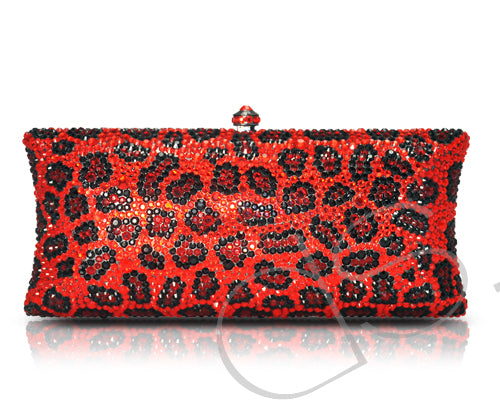 Leopardo Cherry Crystal Clutch Bag - 19.6cm