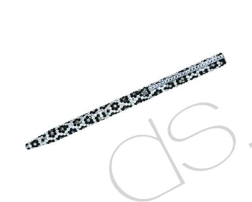 Leopardo Swarovski Crystallized Long Ball Pen - Silver