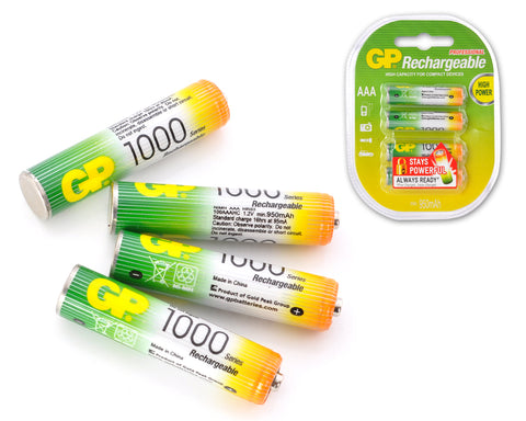 GP Rechargeable Smart Energy AAA Batteries, 4 Count/Pack