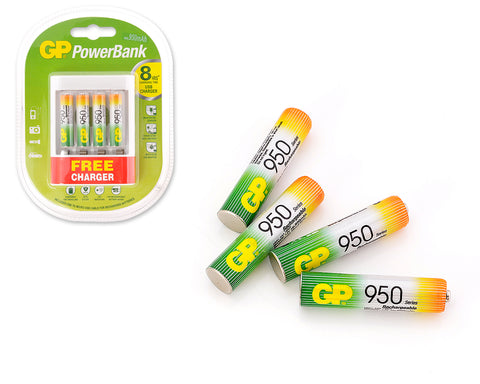 GP NiMH 950 mAh AAA Rechargeable Batteries with Free USB Charger