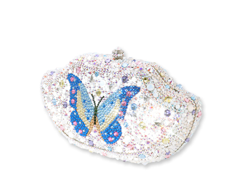 Blue Butterfly Crystal Clutch Bag - 17.5cm