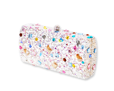 Colorful Cameo Crystal Clutch Bag - 16.5cm