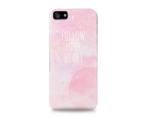 Follow Your Heart Bling Swarovski Crystal Phone Cases