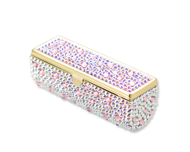 Scatter Bling Swarovski Crystal Lipstick Case With Mirror - White