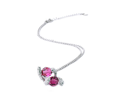 Flutter Bling Swarovski Crystal Necklace - Magenta