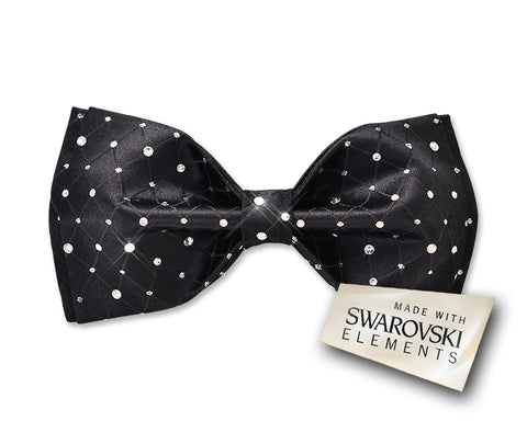 Swarovski Crystal Rhinestones Wedding Bow Tie for Men - Noble Black
