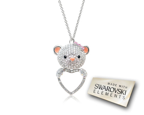 7.5cm Bobby Bear Bling Crystal Necklace - Silver