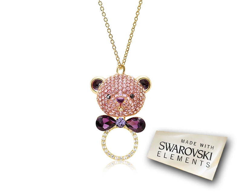 7.5cm Bowtie Bear Bling Crystal Necklace - Purple