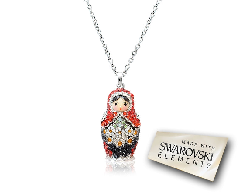 3.5cm Swarovski Crystal Russian Doll Pendant Necklace - Red