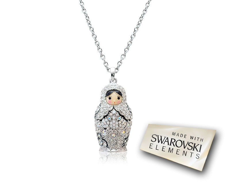 3.5cm Swarovski Crystals Russian Doll Pendant Necklace - Silver