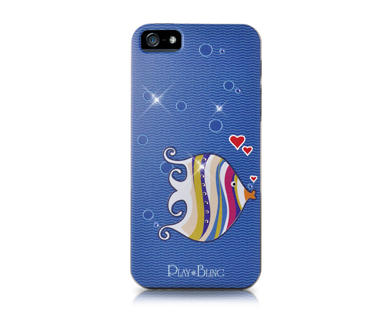 Kissing Fish Bling Swarovski Crystal Phone Cases - Blue