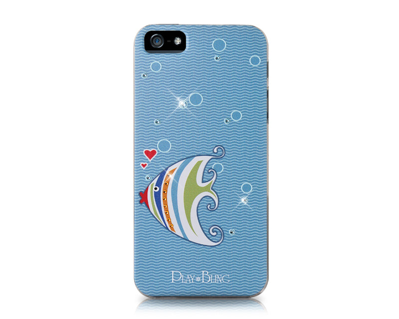 Kissing Fish Bling Swarovski Crystal Phone Cases - Ice Blue