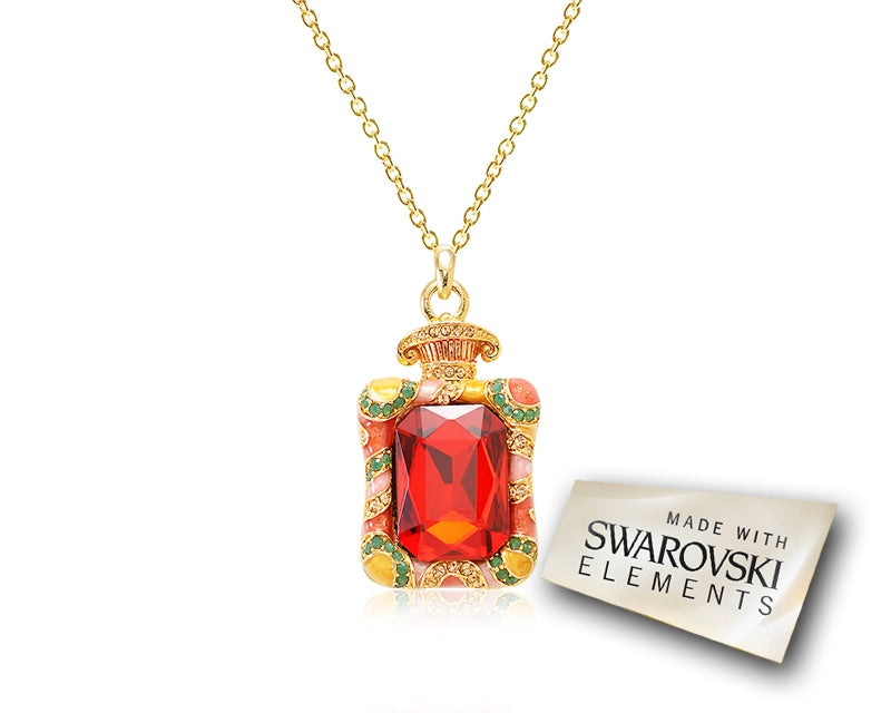 4cm Fragrance Bling Crystal Necklace - Orange