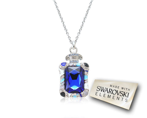 4cm Fragrance Bling Crystal Necklace - Blue