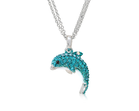 Dolphin Bling Swarovski Crystal Necklace - Ice Blue