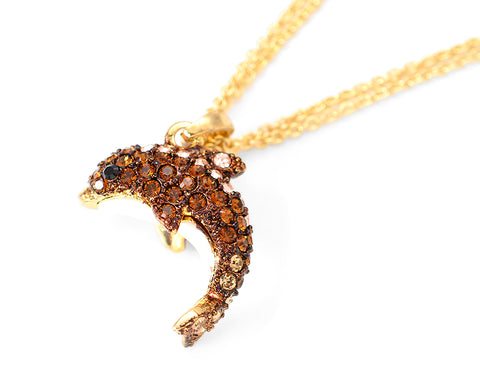 Dolphin Bling Swarovski Crystal Necklace - Brown