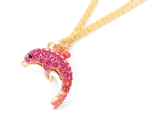 Dolphin Bling Swarovski Crystal Necklace - Magenta