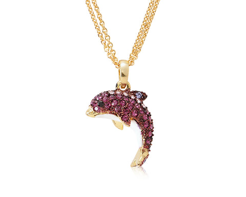 Dolphin Bling Swarovski Crystal Necklace - Purple