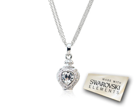 2.1cm Towards Heart Bling Crystal Necklace - White