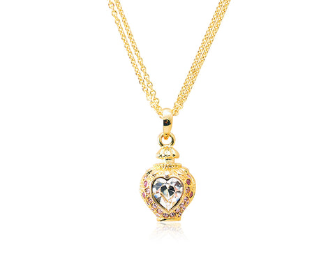 2.1cm Heart Bling Crystal Necklace - Pink