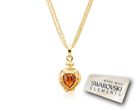 2.1cm Towards Heart Bling Crystal Necklace - Gold