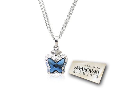 2.1cm Papillon Bling Crystal Necklace - Blue