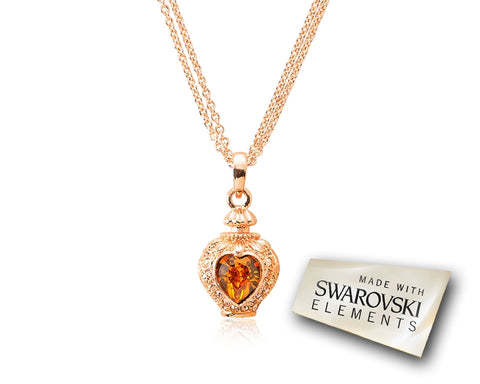 2.1cm Towards Heart Bling Crystal Necklace - Brown