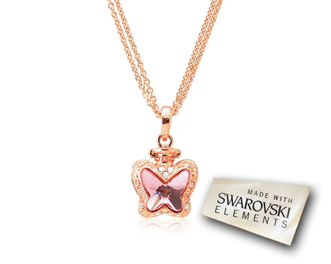 2.1cm Papillon Bling Crystal Necklace - Pink