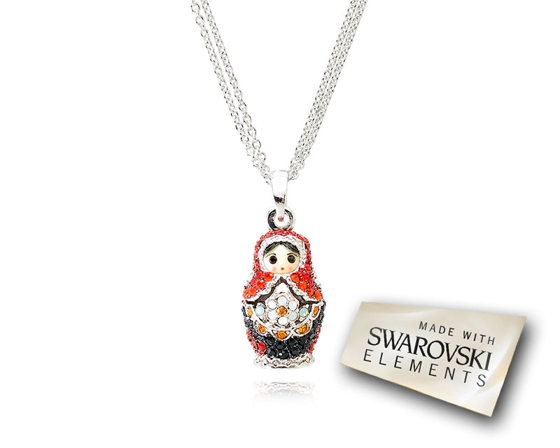 2cm Swarovski Crystal Russian Figurines Pendant Necklace - Red