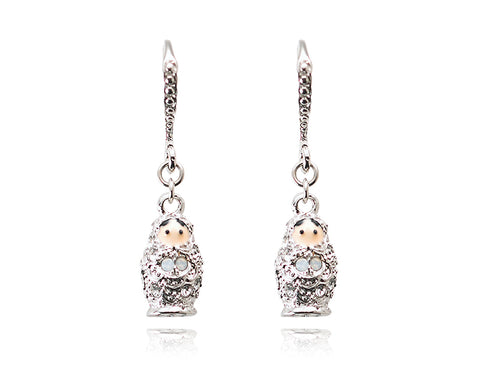 3cm Russian Figurines Bling Swarovski Crystal Earrings - Silver