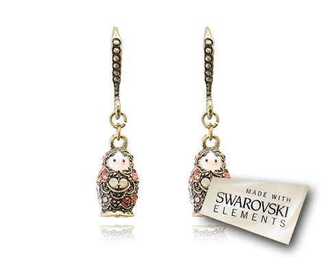 3cm Russian Figurines Bling Swarovski Crystal Earrings - Orange
