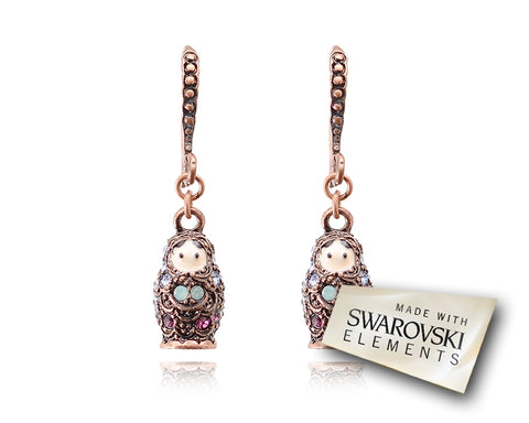 3cm Russian Figurines Bling Swarovski Crystal Earrings - Purple