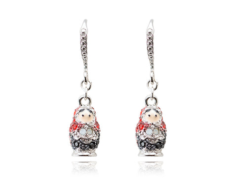 3cm Russian Figurines Bling Swarovski Crystal Earrings - Black