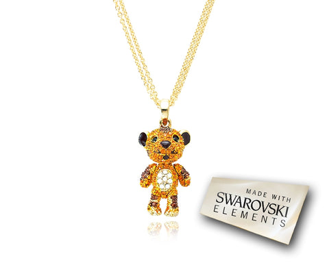 2.5cm Swarovski Crystal Tiger Pendant Necklace - Gold