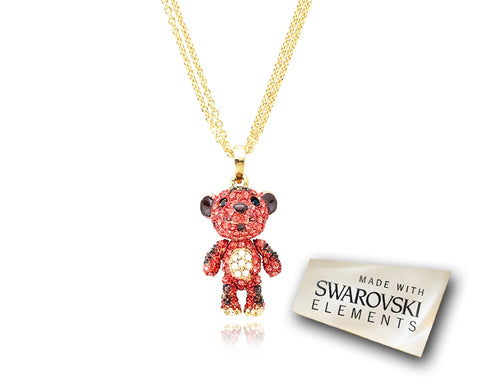 2.5cm Swarovski Crystal Tiger Pendant Necklace - Red