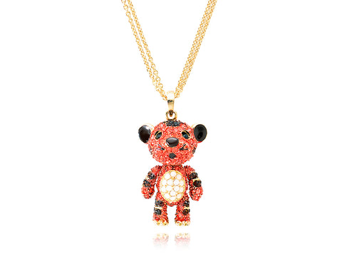 4cm Swarovski Crystal Tiger Pendant Necklace - Red