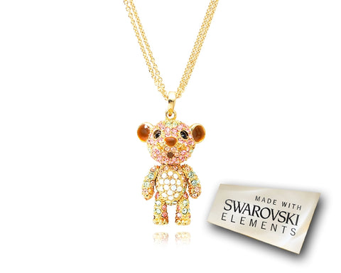 4cm Bling Swarovski Crystal Tiger Pendant Necklace - Pink