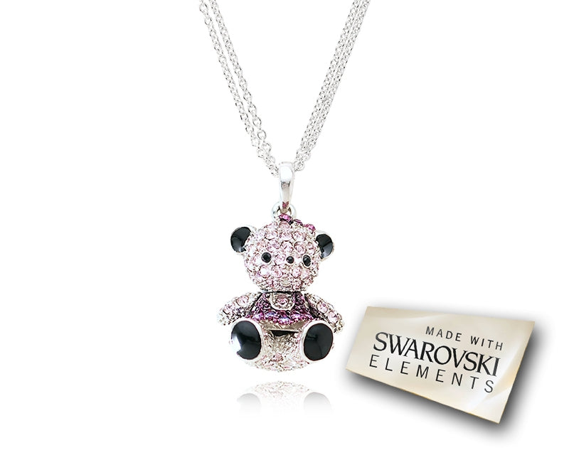 2.5cm Swarovski Crystal Teddy with Dress Pendant Necklace - Violent