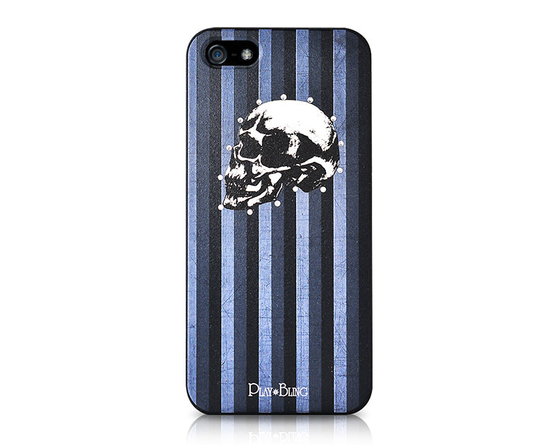 Skull Masculine Bling Swarovski Crystal Phone Cases - Black