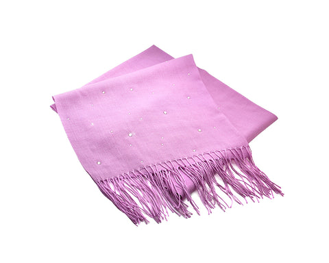 Worsted Wool Scarf with Swarovski Crystals - Light Purple