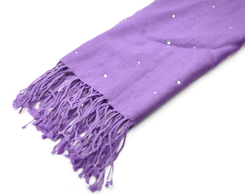 Worsted Wool Scarf with Swarovski Crystals - Violet