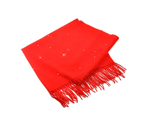 Worsted Wool Scarf with Swarovski Crystals – Bright Red