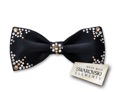 Swarovski Crystal Rhinestones Wedding Bow Tie for Men - Campia Black