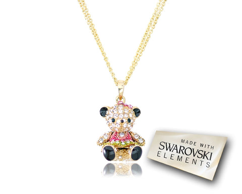 2.5cm Swarovski Crystal Teddy with Dress Pendant Necklace - Rose