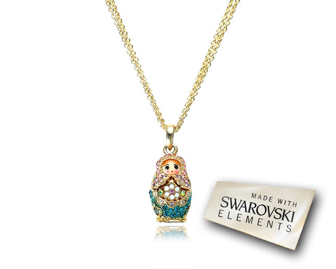 2cm Swarovski Crystal Russian Doll Pendant Necklace - Green